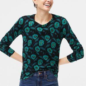 J. Crew Poppy Print Teddie Sweater
